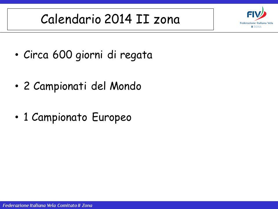 Federazione Italiana Vela Comitato II Zona Calendario 2014 II zona Circa 600 giorni di regata 2 Campionati del Mondo 1 Campionato Europeo