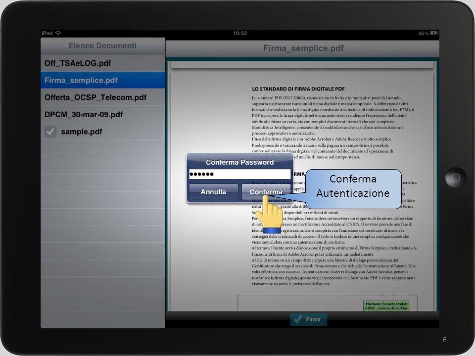 un sistema integrato per la gestione della rete commerciale 6 Conferma Autenticazione