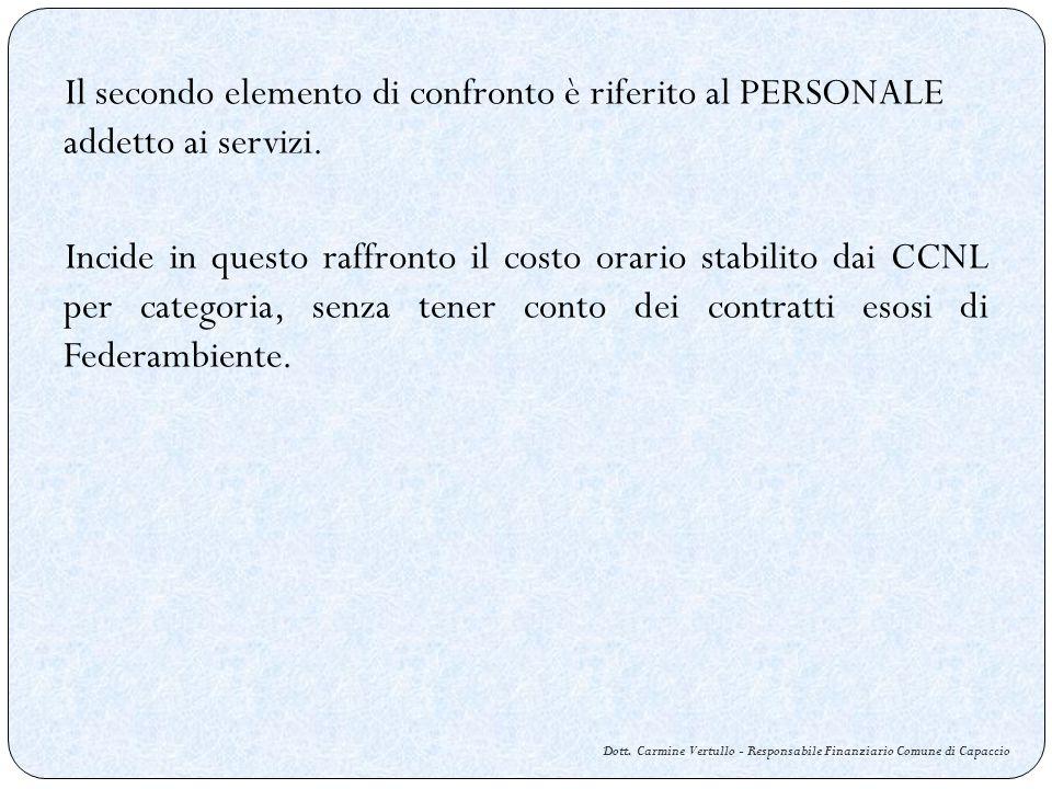 Dott. Carmine Vertullo - Responsabile Finanziario Comune di Capaccio Il secondo elemento di confronto è riferito al PERSONALE addetto ai servizi. Inci
