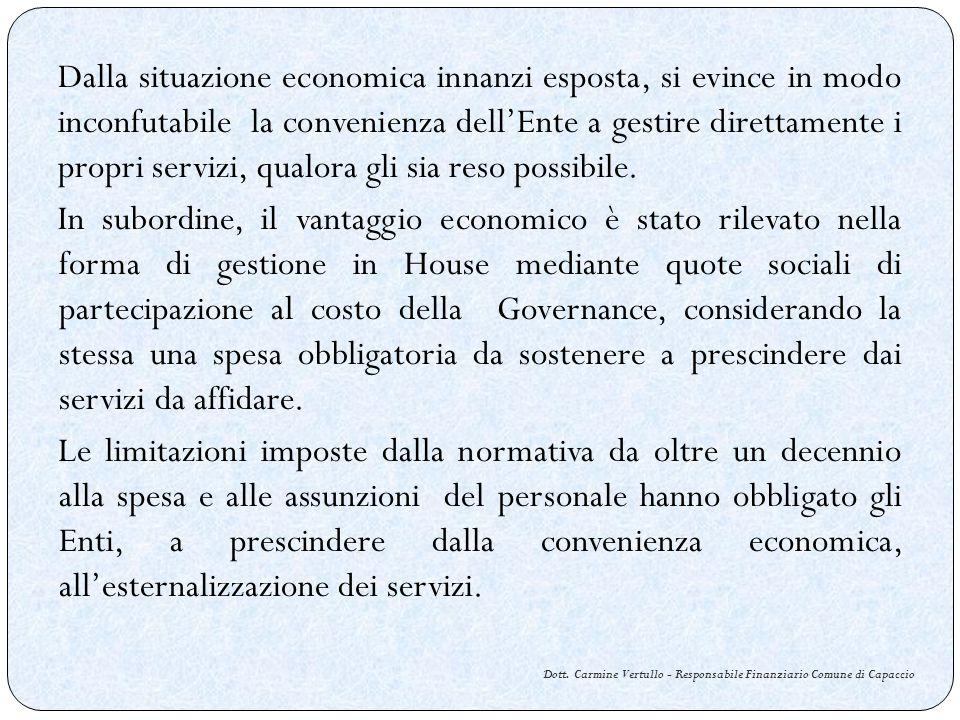 Dalla situazione economica innanzi esposta, si evince in modo inconfutabile la convenienza dellEnte a gestire direttamente i propri servizi, qualora g