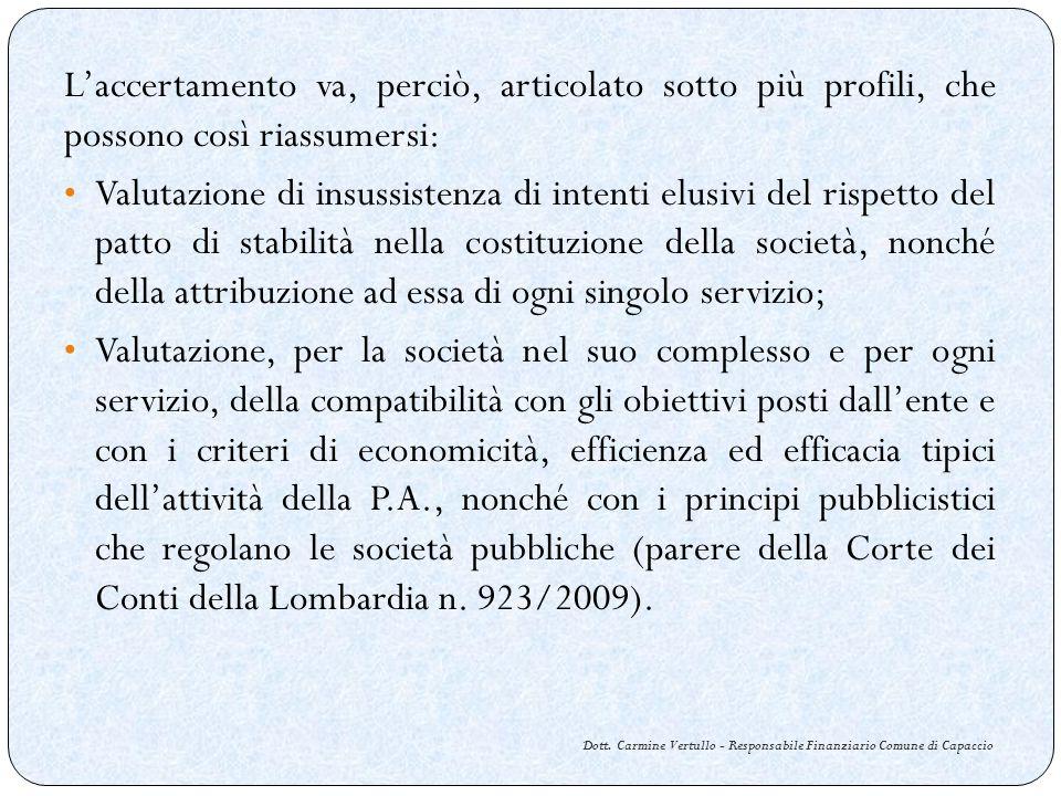 Dott. Carmine Vertullo - Responsabile Finanziario Comune di Capaccio Laccertamento va, perciò, articolato sotto più profili, che possono così riassume