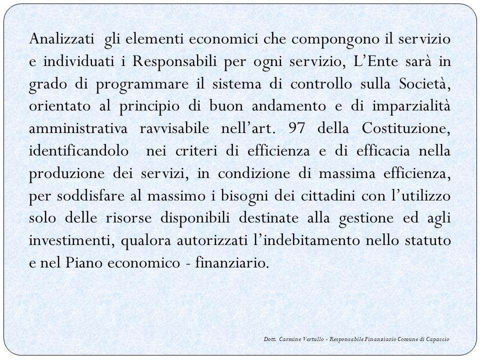 Dott. Carmine Vertullo - Responsabile Finanziario Comune di Capaccio Analizzati gli elementi economici che compongono il servizio e individuati i Resp