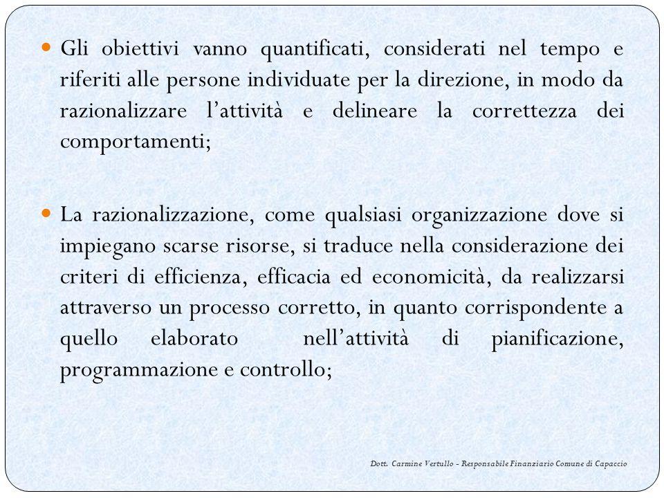 Dott. Carmine Vertullo - Responsabile Finanziario Comune di Capaccio Gli obiettivi vanno quantificati, considerati nel tempo e riferiti alle persone i
