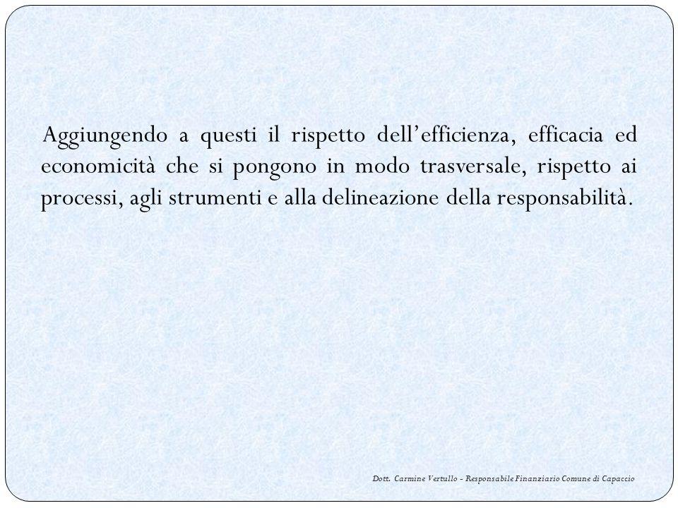 Dott. Carmine Vertullo - Responsabile Finanziario Comune di Capaccio Aggiungendo a questi il rispetto dellefficienza, efficacia ed economicità che si