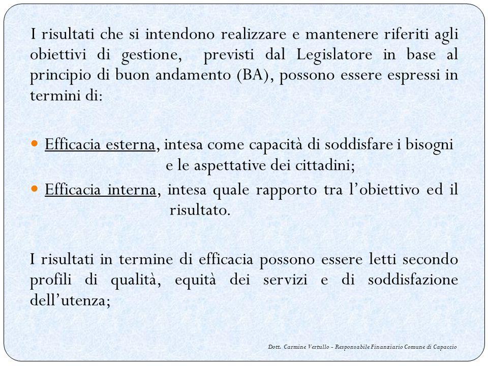Dott. Carmine Vertullo - Responsabile Finanziario Comune di Capaccio I risultati che si intendono realizzare e mantenere riferiti agli obiettivi di ge
