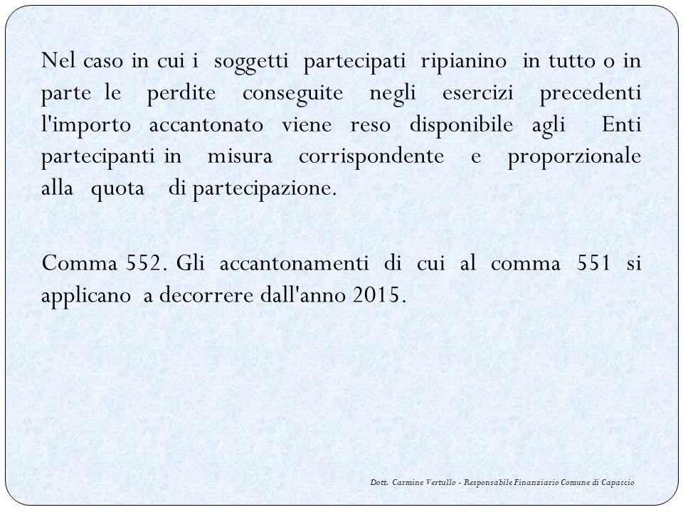 Dott. Carmine Vertullo - Responsabile Finanziario Comune di Capaccio Nel caso in cui i soggetti partecipati ripianino in tutto o in parte le perdite c