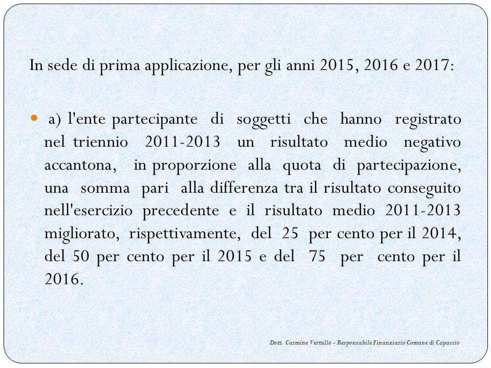Dott. Carmine Vertullo - Responsabile Finanziario Comune di Capaccio In sede di prima applicazione, per gli anni 2015, 2016 e 2017: a) l'ente partecip