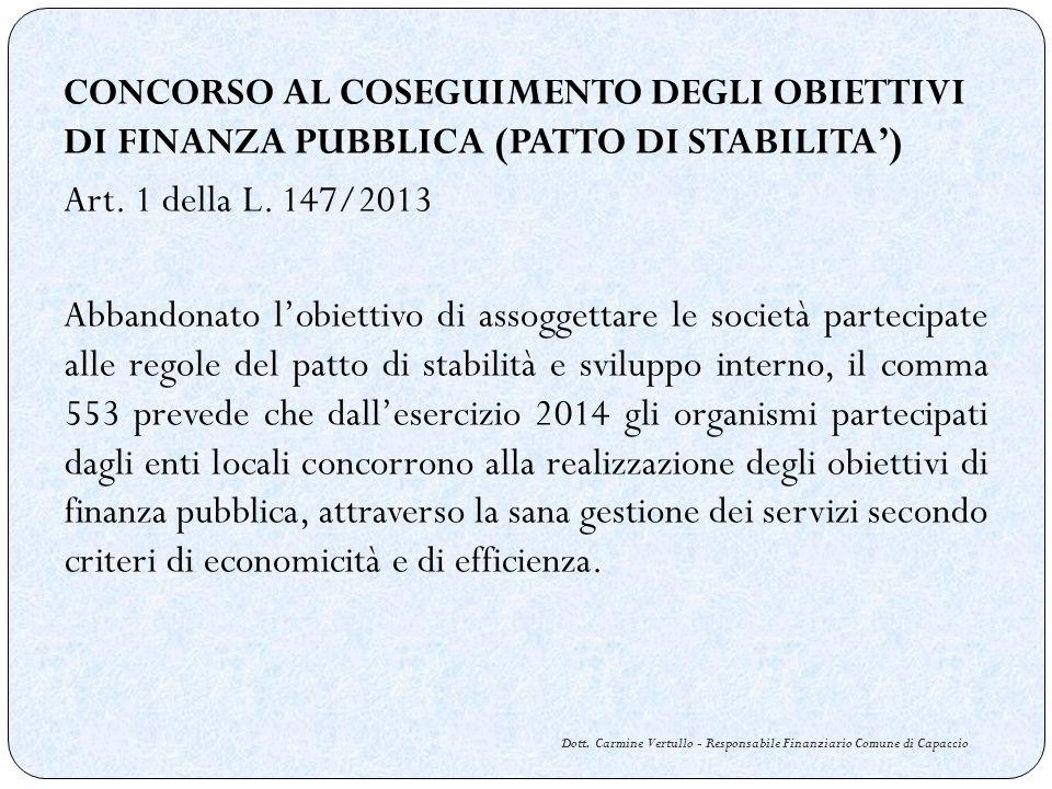 Dott. Carmine Vertullo - Responsabile Finanziario Comune di Capaccio CONCORSO AL COSEGUIMENTO DEGLI OBIETTIVI DI FINANZA PUBBLICA (PATTO DI STABILITA)