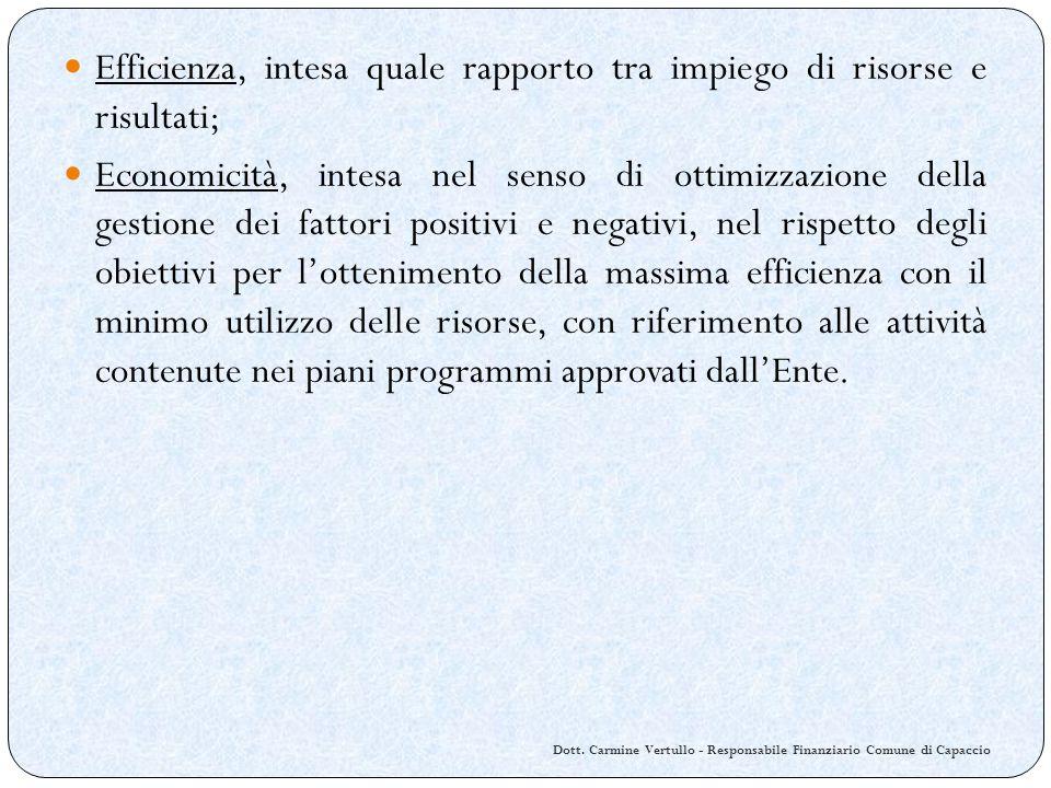 Dott. Carmine Vertullo - Responsabile Finanziario Comune di Capaccio Efficienza, intesa quale rapporto tra impiego di risorse e risultati; Economicità