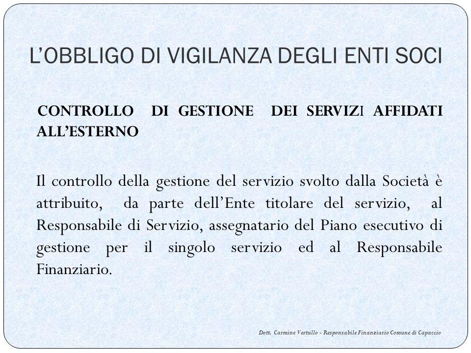 LOBBLIGO DI VIGILANZA DEGLI ENTI SOCI Dott.