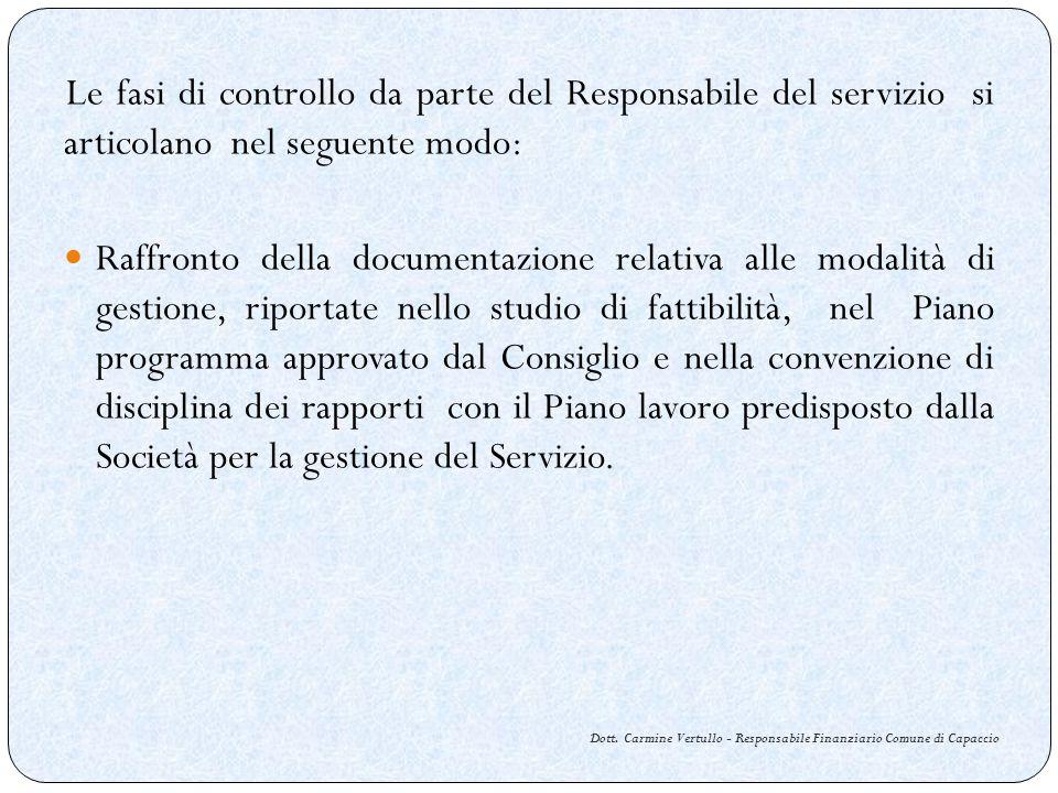 Dott. Carmine Vertullo - Responsabile Finanziario Comune di Capaccio Le fasi di controllo da parte del Responsabile del servizio si articolano nel seg