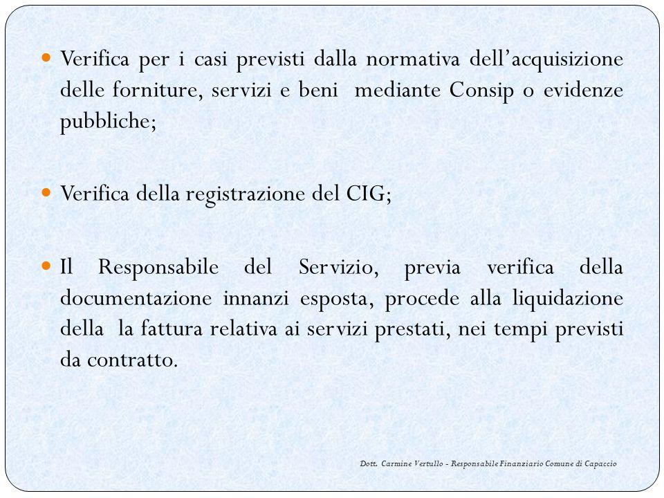 Dott. Carmine Vertullo - Responsabile Finanziario Comune di Capaccio Verifica per i casi previsti dalla normativa dellacquisizione delle forniture, se