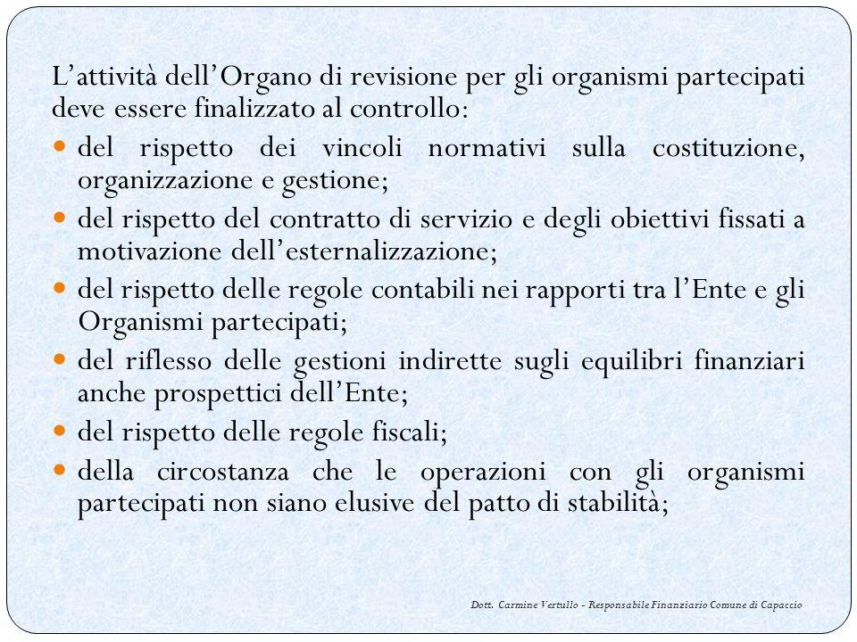 Dott. Carmine Vertullo - Responsabile Finanziario Comune di Capaccio Lattività dellOrgano di revisione per gli organismi partecipati deve essere final