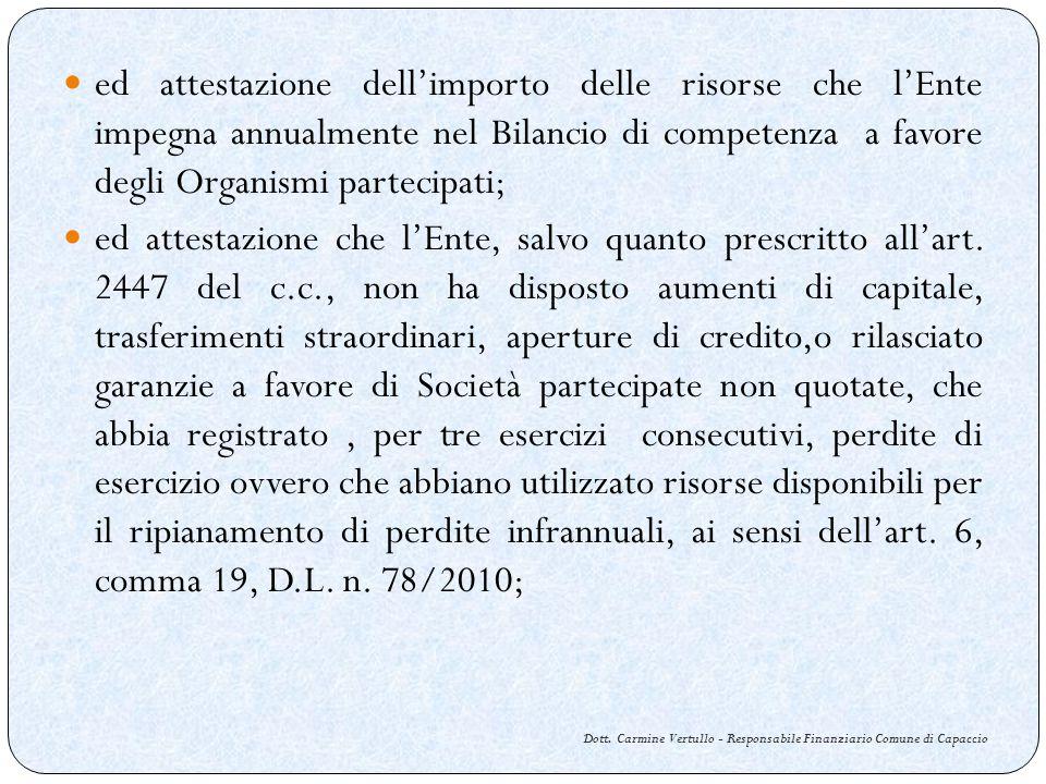 Dott. Carmine Vertullo - Responsabile Finanziario Comune di Capaccio ed attestazione dellimporto delle risorse che lEnte impegna annualmente nel Bilan