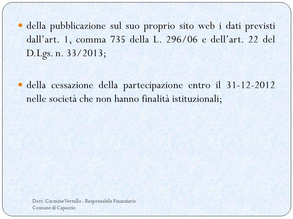 Dott. Carmine Vertullo - Responsabile Finanziario Comune di Capaccio della pubblicazione sul suo proprio sito web i dati previsti dallart. 1, comma 73