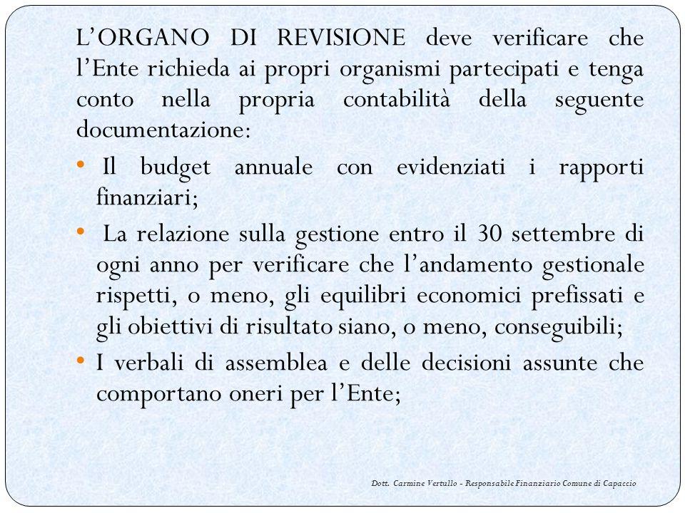 Dott. Carmine Vertullo - Responsabile Finanziario Comune di Capaccio LORGANO DI REVISIONE deve verificare che lEnte richieda ai propri organismi parte
