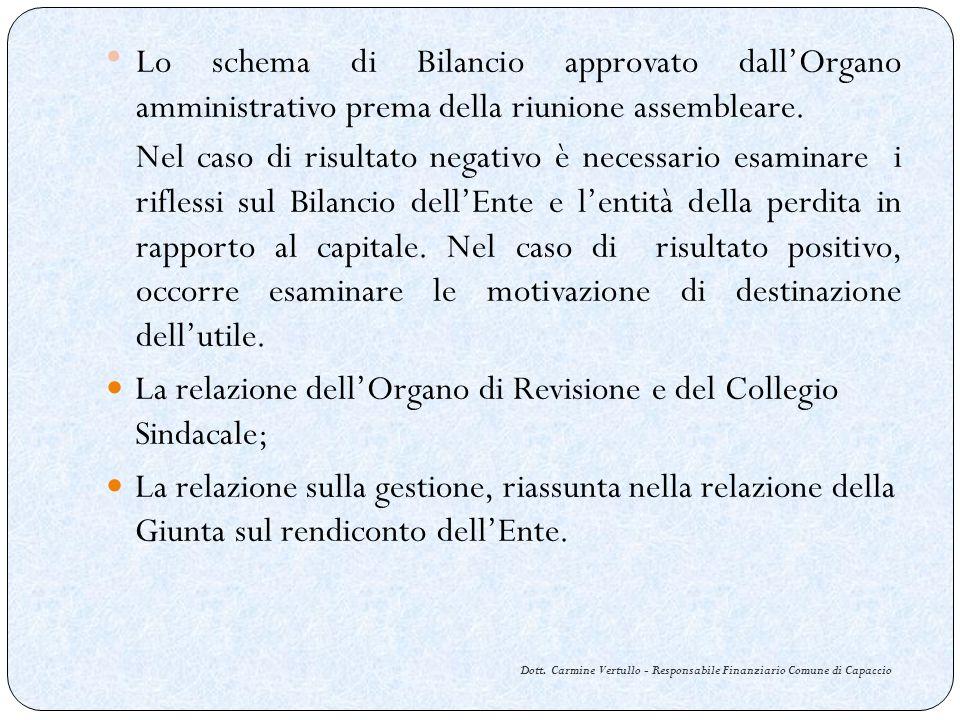 Dott. Carmine Vertullo - Responsabile Finanziario Comune di Capaccio Lo schema di Bilancio approvato dallOrgano amministrativo prema della riunione as