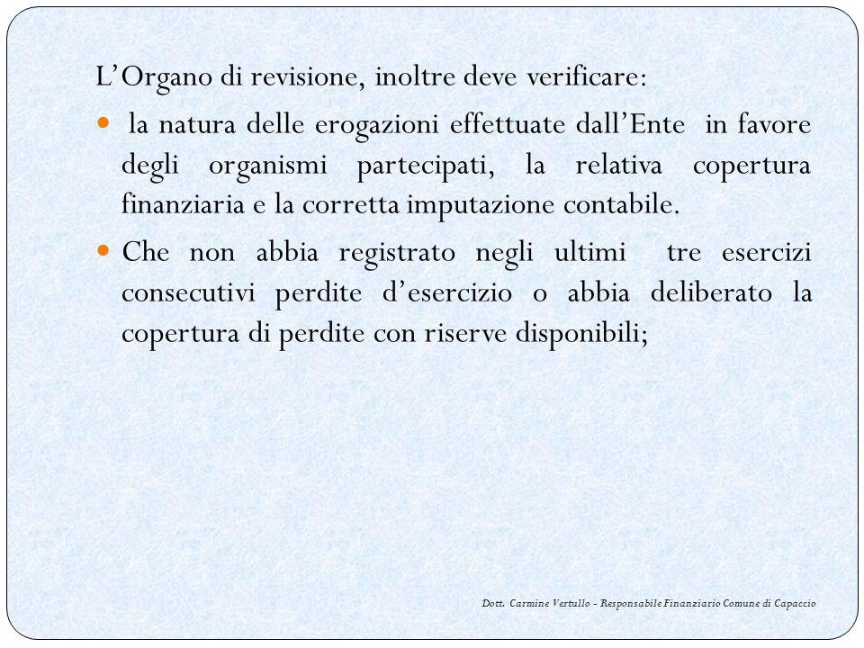 Dott. Carmine Vertullo - Responsabile Finanziario Comune di Capaccio LOrgano di revisione, inoltre deve verificare: la natura delle erogazioni effettu
