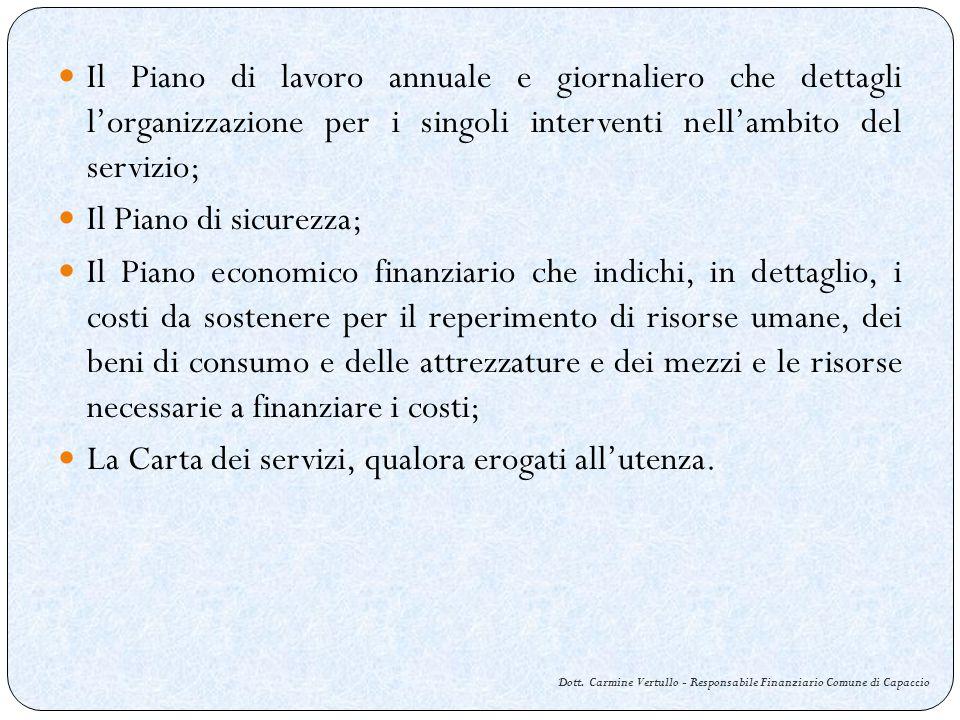Dott. Carmine Vertullo - Responsabile Finanziario Comune di Capaccio Il Piano di lavoro annuale e giornaliero che dettagli lorganizzazione per i singo