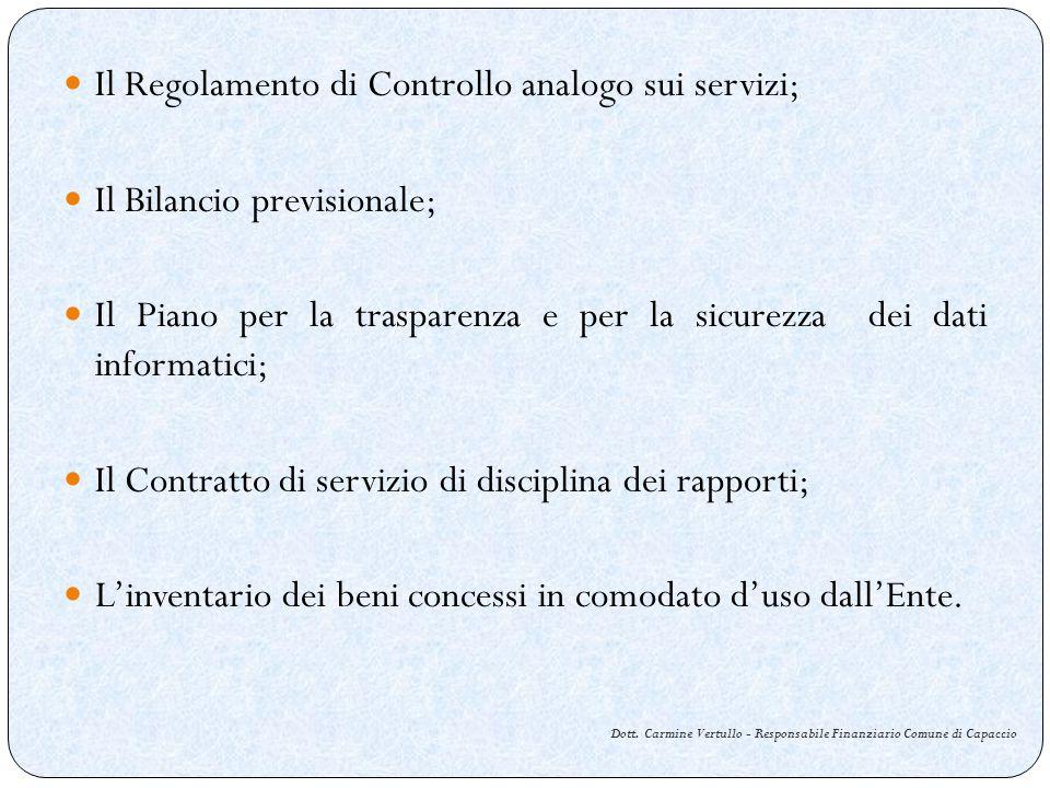 Dott. Carmine Vertullo - Responsabile Finanziario Comune di Capaccio Il Regolamento di Controllo analogo sui servizi; Il Bilancio previsionale; Il Pia