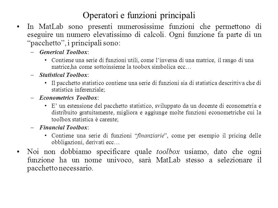 Operatori e funzioni principali In MatLab sono presenti numerosissime funzioni che permettono di eseguire un numero elevatissimo di calcoli. Ogni funz