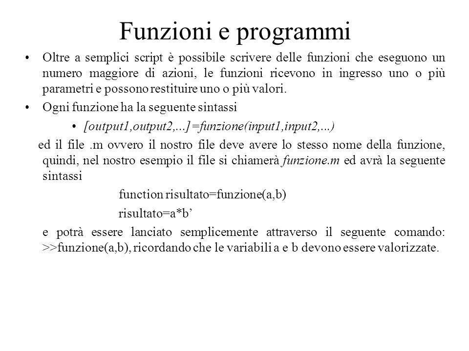 Funzioni e programmi Oltre a semplici script è possibile scrivere delle funzioni che eseguono un numero maggiore di azioni, le funzioni ricevono in in