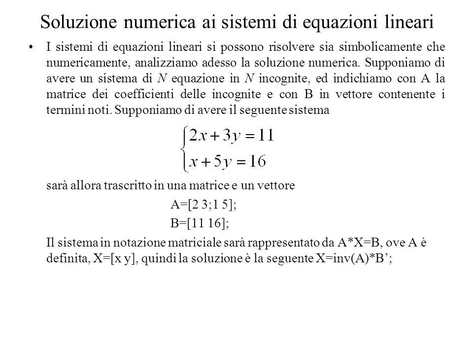 Soluzione numerica ai sistemi di equazioni lineari I sistemi di equazioni lineari si possono risolvere sia simbolicamente che numericamente, analizzia