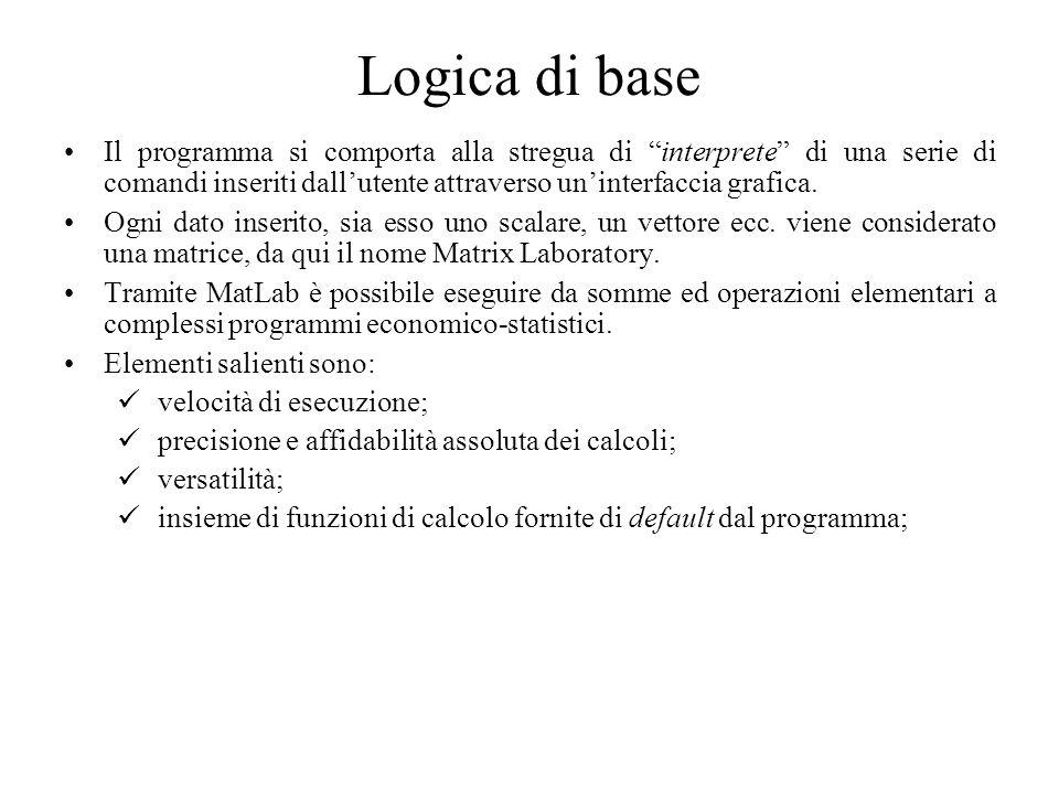 Logica di base Il programma si comporta alla stregua di interprete di una serie di comandi inseriti dallutente attraverso uninterfaccia grafica. Ogni