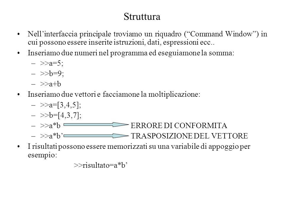 Struttura Nellinterfaccia principale troviamo un riquadro (Command Window) in cui possono essere inserite istruzioni, dati, espressioni ecc.. Inseriam