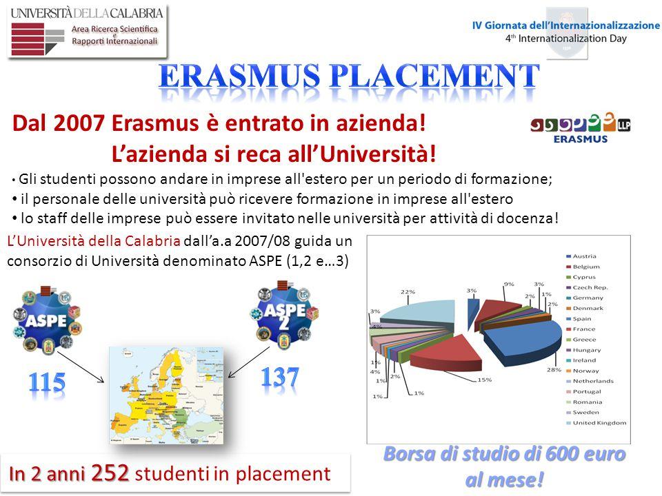 I dati del primo anno in Europa - a.a 2007/08 115 115 studenti in placement – oltre il 14% degli studenti italiani!