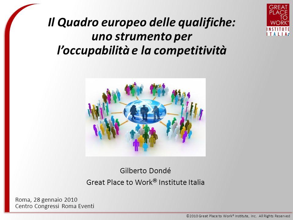 ©2010 Great Place to Work® Institute, Inc. All Rights Reserved Roma, 28 gennaio 2010 Centro Congressi Roma Eventi Il Quadro europeo delle qualifiche: