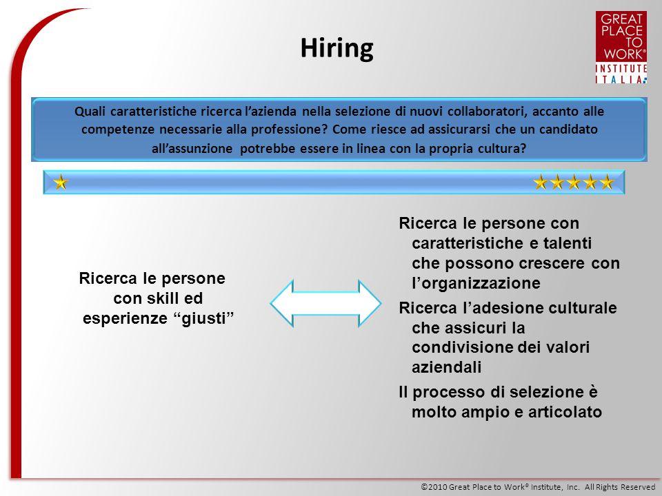 ©2010 Great Place to Work® Institute, Inc. All Rights Reserved Hiring Ricerca le persone con skill ed esperienze giusti Ricerca le persone con caratte