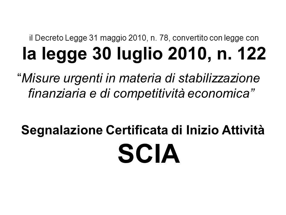 il Decreto Legge 31 maggio 2010, n. 78, convertito con legge con la legge 30 luglio 2010, n. 122 Misure urgenti in materia di stabilizzazione finanzia