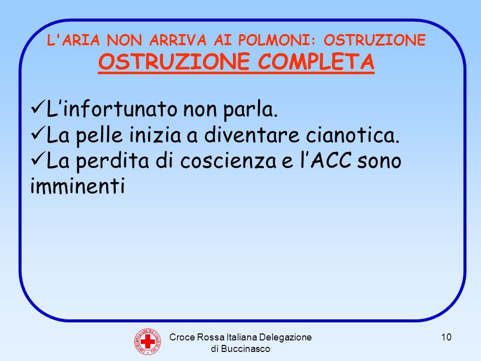 Croce Rossa Italiana Delegazione di Buccinasco 10 C O N V E N Z I O N E D I G I N E V R A 2 2 A G O S T O 1 8 6 4 L ARIA NON ARRIVA AI POLMONI: OSTRUZIONE OSTRUZIONE COMPLETA Linfortunato non parla.