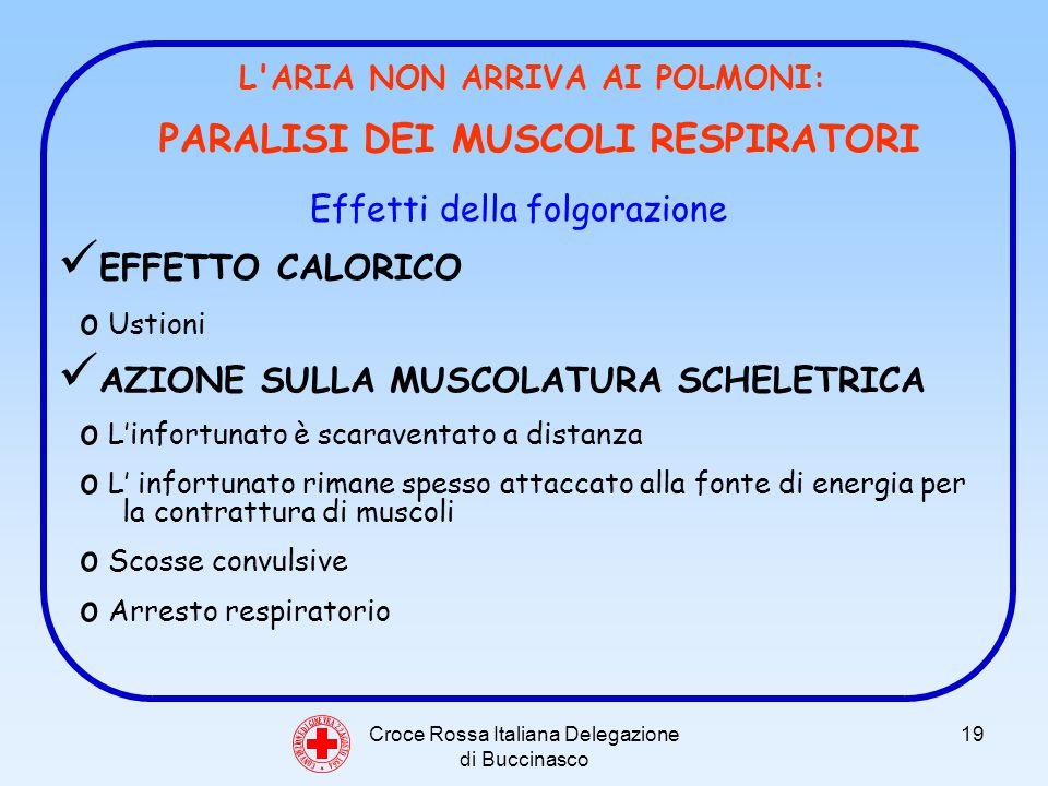 Croce Rossa Italiana Delegazione di Buccinasco 19 C O N V E N Z I O N E D I G I N E V R A 2 2 A G O S T O 1 8 6 4 L ARIA NON ARRIVA AI POLMONI: PARALISI DEI MUSCOLI RESPIRATORI Effetti della folgorazione EFFETTO CALORICO o Ustioni AZIONE SULLA MUSCOLATURA SCHELETRICA o Linfortunato è scaraventato a distanza o L infortunato rimane spesso attaccato alla fonte di energia per la contrattura di muscoli o Scosse convulsive o Arresto respiratorio