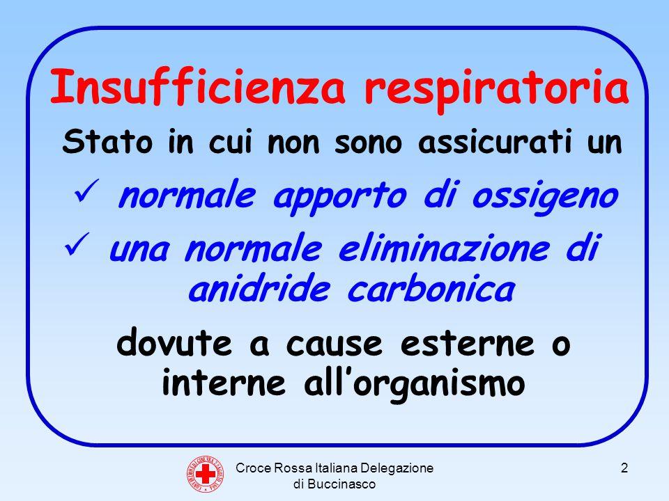Croce Rossa Italiana Delegazione di Buccinasco 3 Insufficienza respiratoria segni e sintomi - difficolta respiratoria - cianosi - cute fredda e sudata - tachicardia - stato di agitazione
