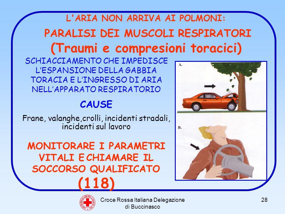 Croce Rossa Italiana Delegazione di Buccinasco 28 C O N V E N Z I O N E D I G I N E V R A 2 2 A G O S T O 1 8 6 4 L ARIA NON ARRIVA AI POLMONI: PARALISI DEI MUSCOLI RESPIRATORI (Traumi e compresioni toracici) SCHIACCIAMENTO CHE IMPEDISCE LESPANSIONE DELLA GABBIA TORACIA E LINGRESSO DI ARIA NELLAPPARATO RESPIRATORIO CAUSE Frane, valanghe,crolli, incidenti stradali, incidenti sul lavoro MONITORARE I PARAMETRI VITALI E CHIAMARE IL SOCCORSO QUALIFICATO (118)