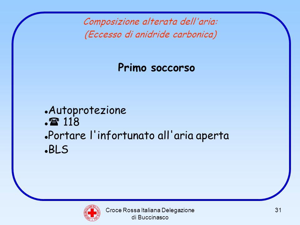 Croce Rossa Italiana Delegazione di Buccinasco 31 Composizione alterata dell aria: (Eccesso di anidride carbonica) C O N V E N Z I O N E D I G I N E V R A 2 2 A G O S T O 1 8 6 4 Primo soccorso Autoprotezione 118 Portare l infortunato all aria aperta BLS