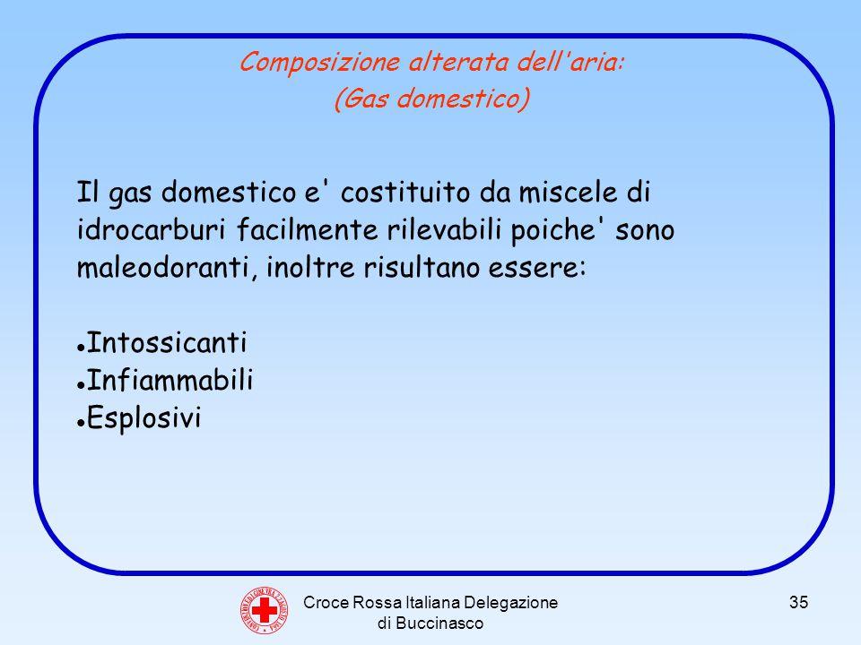 Croce Rossa Italiana Delegazione di Buccinasco 35 Composizione alterata dell aria: (Gas domestico) C O N V E N Z I O N E D I G I N E V R A 2 2 A G O S T O 1 8 6 4 Il gas domestico e costituito da miscele di idrocarburi facilmente rilevabili poiche sono maleodoranti, inoltre risultano essere: Intossicanti Infiammabili Esplosivi