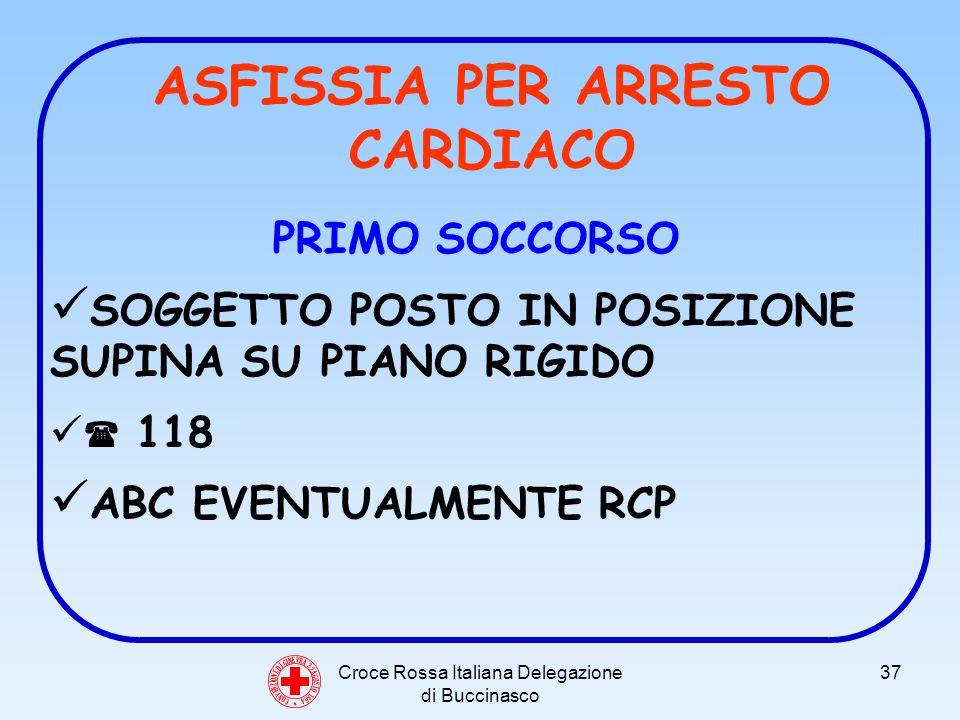 Croce Rossa Italiana Delegazione di Buccinasco 37 C O N V E N Z I O N E D I G I N E V R A 2 2 A G O S T O 1 8 6 4 ASFISSIA PER ARRESTO CARDIACO PRIMO SOCCORSO SOGGETTO POSTO IN POSIZIONE SUPINA SU PIANO RIGIDO 118 ABC EVENTUALMENTE RCP