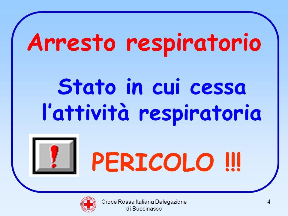 Croce Rossa Italiana Delegazione di Buccinasco 5 Cause di arresto respiratorio Laria non arriva ai polmoni Laria arriva ai polmoni ma è alterata Insufficienza cardiaca o arresto Alterazioni a livello polmonare