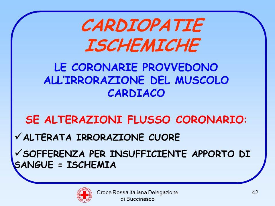 Croce Rossa Italiana Delegazione di Buccinasco 42 C O N V E N Z I O N E D I G I N E V R A 2 2 A G O S T O 1 8 6 4 CARDIOPATIE ISCHEMICHE LE CORONARIE PROVVEDONO ALLIRRORAZIONE DEL MUSCOLO CARDIACO SE ALTERAZIONI FLUSSO CORONARIO: ALTERATA IRRORAZIONE CUORE SOFFERENZA PER INSUFFICIENTE APPORTO DI SANGUE = ISCHEMIA