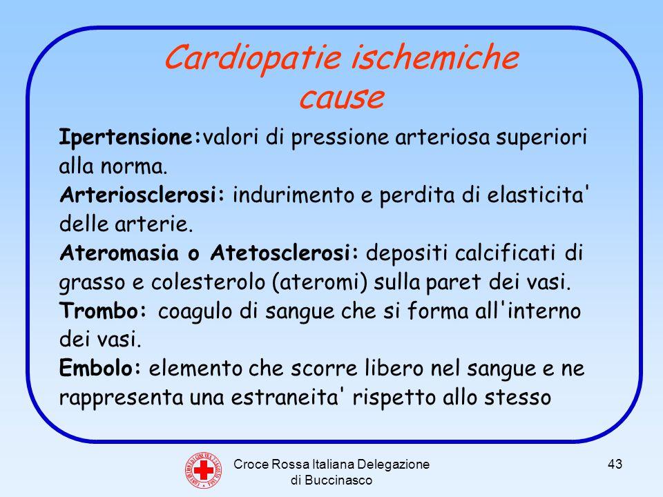 Croce Rossa Italiana Delegazione di Buccinasco 43 C O N V E N Z I O N E D I G I N E V R A 2 2 A G O S T O 1 8 6 4 Cardiopatie ischemiche cause Ipertensione:valori di pressione arteriosa superiori alla norma.