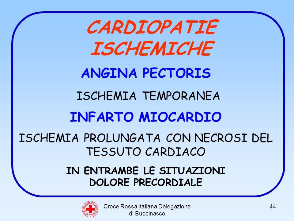 Croce Rossa Italiana Delegazione di Buccinasco 44 C O N V E N Z I O N E D I G I N E V R A 2 2 A G O S T O 1 8 6 4 CARDIOPATIE ISCHEMICHE ANGINA PECTORIS ISCHEMIA TEMPORANEA INFARTO MIOCARDIO ISCHEMIA PROLUNGATA CON NECROSI DEL TESSUTO CARDIACO IN ENTRAMBE LE SITUAZIONI DOLORE PRECORDIALE