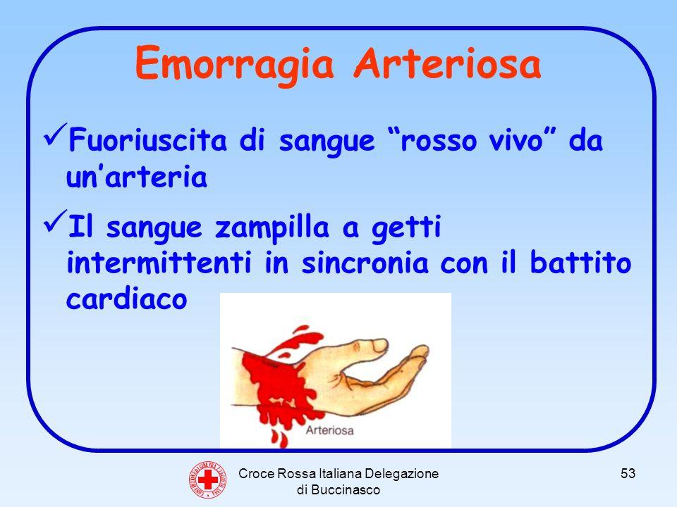Croce Rossa Italiana Delegazione di Buccinasco 53 Emorragia Arteriosa Fuoriuscita di sangue rosso vivo da unarteria Il sangue zampilla a getti intermittenti in sincronia con il battito cardiaco C O N V E N Z I O N E D I G I N E V R A 2 2 A G O S T O 1 8 6 4