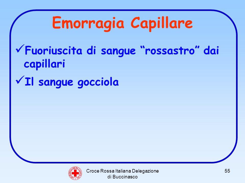 Croce Rossa Italiana Delegazione di Buccinasco 55 Emorragia Capillare Fuoriuscita di sangue rossastro dai capillari Il sangue gocciola C O N V E N Z I O N E D I G I N E V R A 2 2 A G O S T O 1 8 6 4