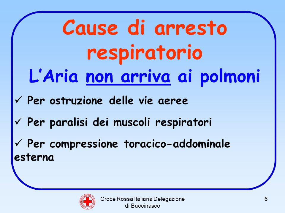 Croce Rossa Italiana Delegazione di Buccinasco 27 C O N V E N Z I O N E D I G I N E V R A 2 2 A G O S T O 1 8 6 4 L ARIA NON ARRIVA AI POLMONI: PARALISI DEI MUSCOLI RESPIRATORI (Traumi) TRAUMI CRANICI E TRAUMI VERTEBRALI Se un traumatizzato ha riportato danni al bulbo, sede dei centri respiratori, si può avere arresto delle funzioni vitali NON MUOVERE LINFORTUNATO E CHIAMARE IL 118 MONITORARE LINFORTUNATO NEL CASO SI RENDESSE NECESSARIA LA RCP USARE LA MASSIMA PRUDENZA