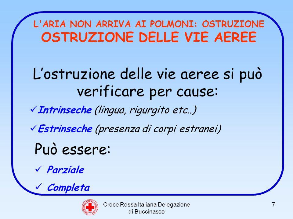 Croce Rossa Italiana Delegazione di Buccinasco 8 C O N V E N Z I O N E D I G I N E V R A 2 2 A G O S T O 1 8 6 4 L ARIA NON ARRIVA AI POLMONI: OSTRUZIONE OSTRUZIONE PARZIALE Il soggetto tossisce Comincia a diventare cianotico.