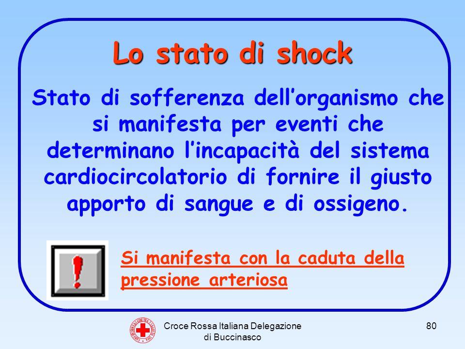 Croce Rossa Italiana Delegazione di Buccinasco 80 Lo stato di shock Stato di sofferenza dellorganismo che si manifesta per eventi che determinano lincapacità del sistema cardiocircolatorio di fornire il giusto apporto di sangue e di ossigeno.