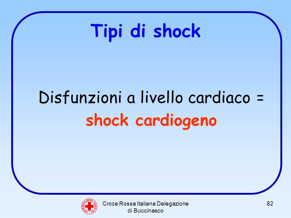 Croce Rossa Italiana Delegazione di Buccinasco 82 Tipi di shock Disfunzioni a livello cardiaco = shock cardiogeno C O N V E N Z I O N E D I G I N E V R A 2 2 A G O S T O 1 8 6 4